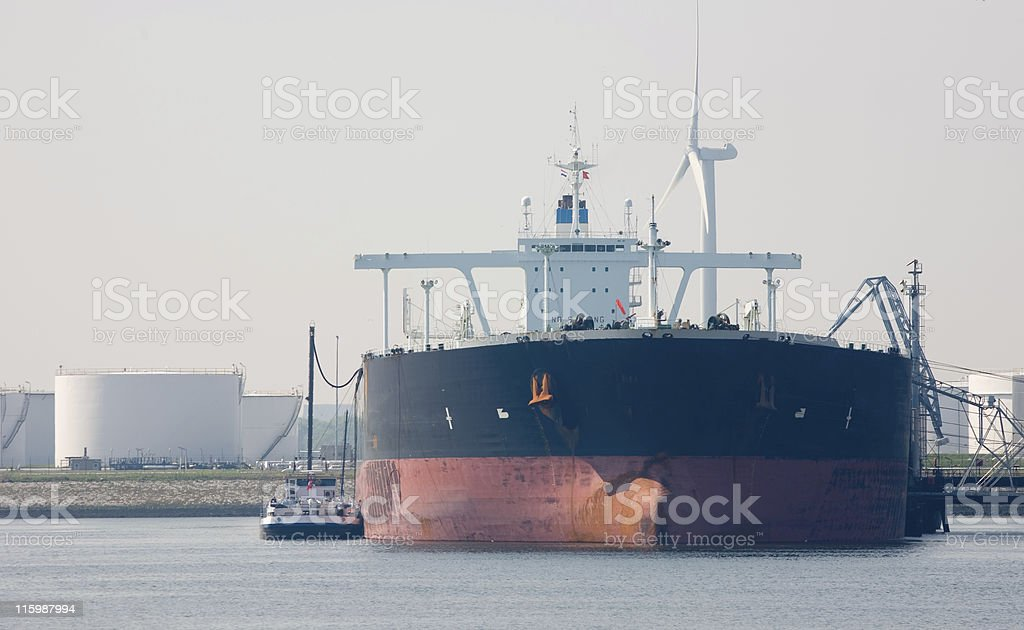 Supertanker with oil storage stock photo
