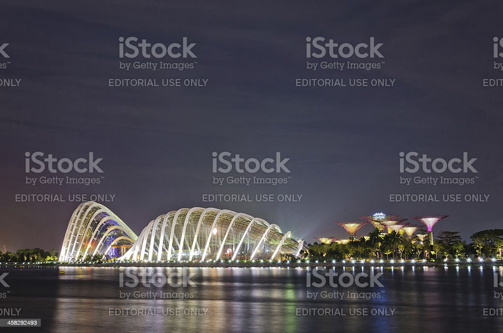 Supertree Grove and Flower Dome at Gardens by the Bay royalty-free stock photo