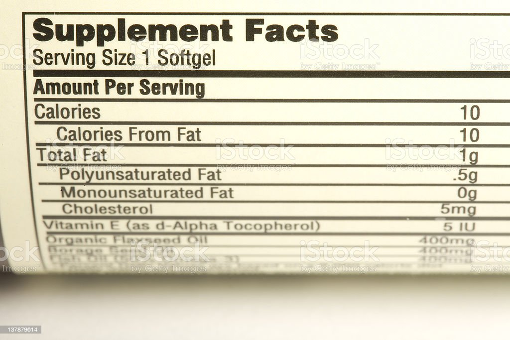 supplement facts stock photo
