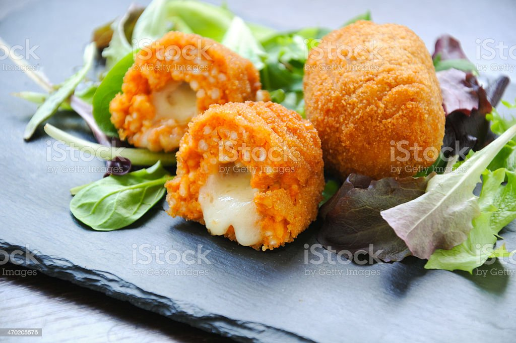 Suppli  a typical Italian street food stock photo