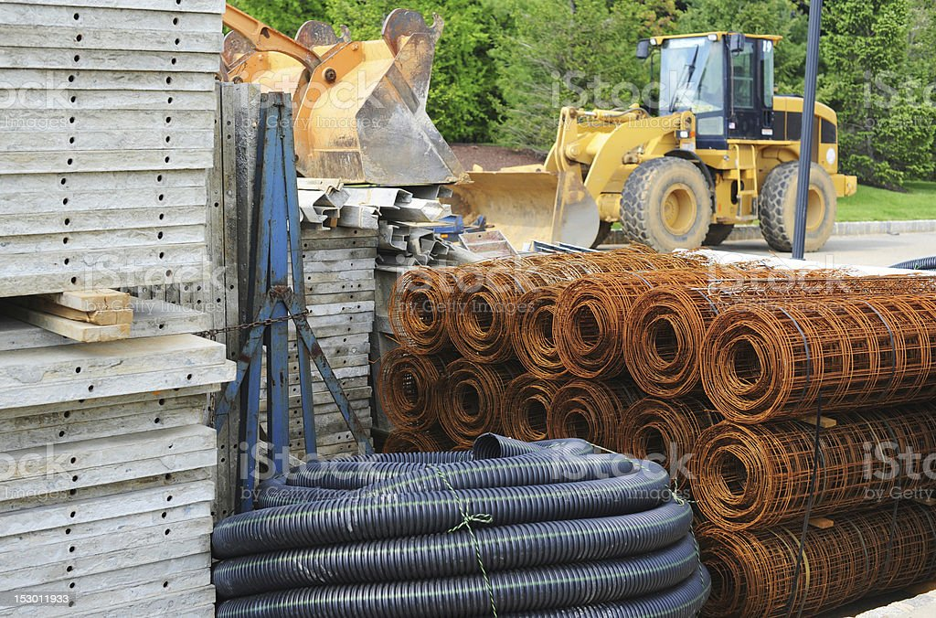 Supplies at a construction site stock photo