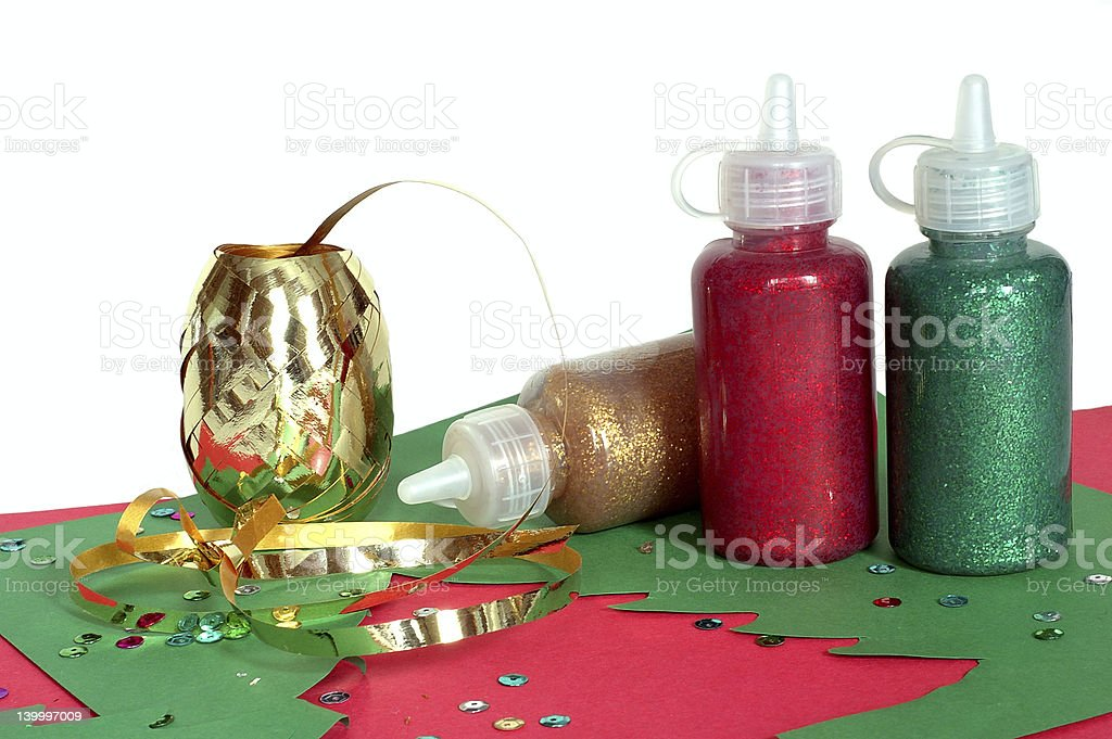 Supplies for making Christmas cards royalty-free stock photo