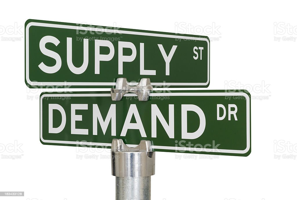Supply Demand Intersection royalty-free stock photo