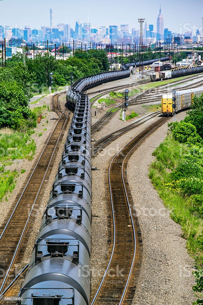 Supply line fuels modern city stock photo