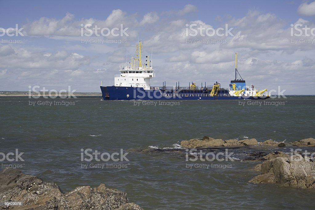 Supply ship entering Aberdeen harbour, Scotland stock photo