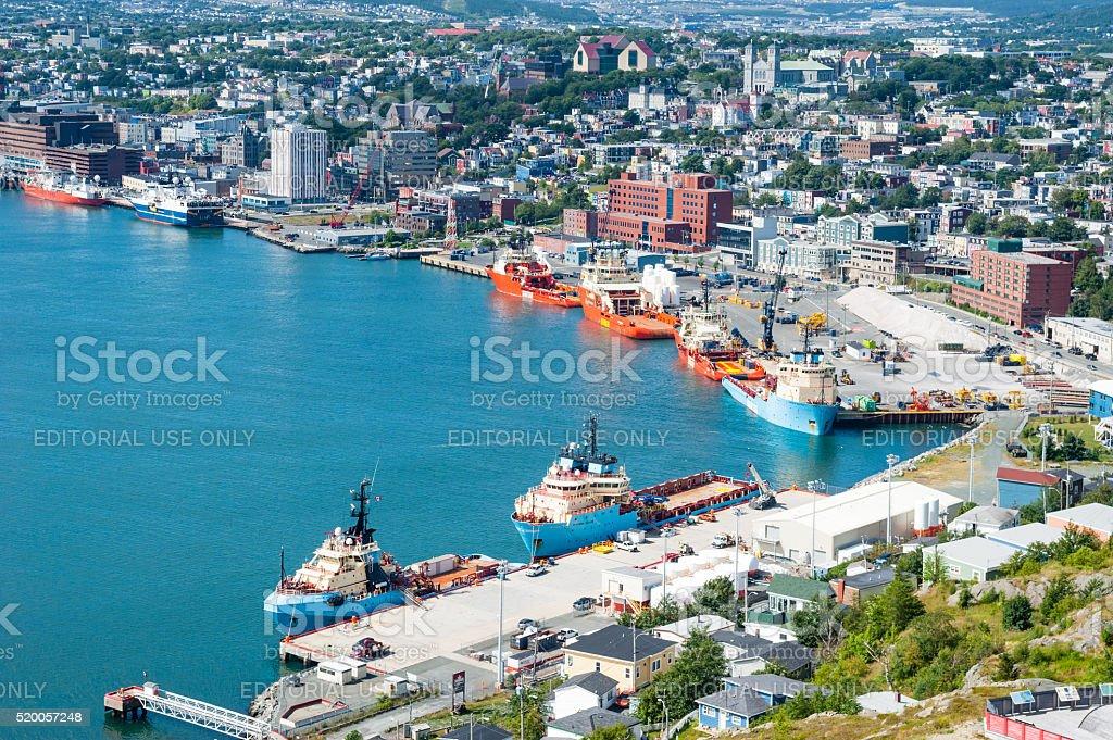 Supply ships docked in St. John's Harbour. stock photo