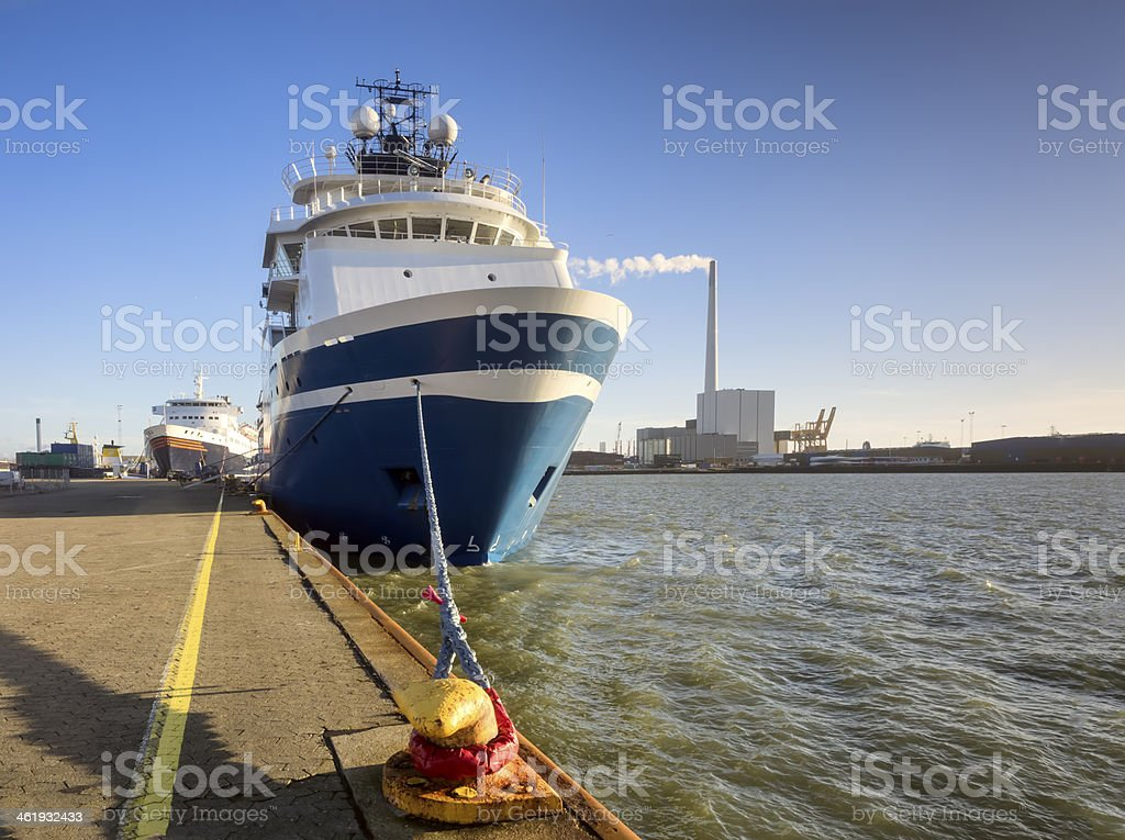 Supply ships Esbjerg oil harbor, Denmark stock photo