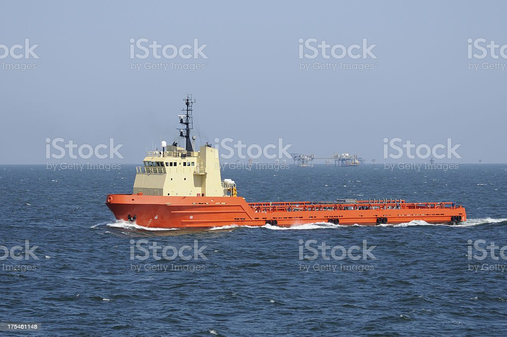 Supply vessel in well field royalty-free stock photo