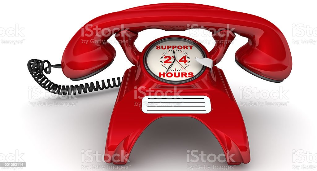 Support 24 hours. The inscription on the red phone stock photo