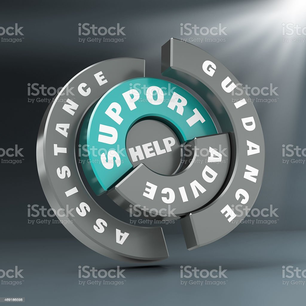 Support Advice Help  And Guidance on a ring stock photo