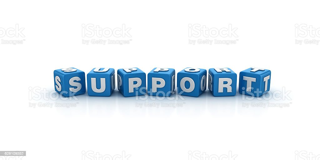 Support Buzzword Cube - 3D Rendering stock photo
