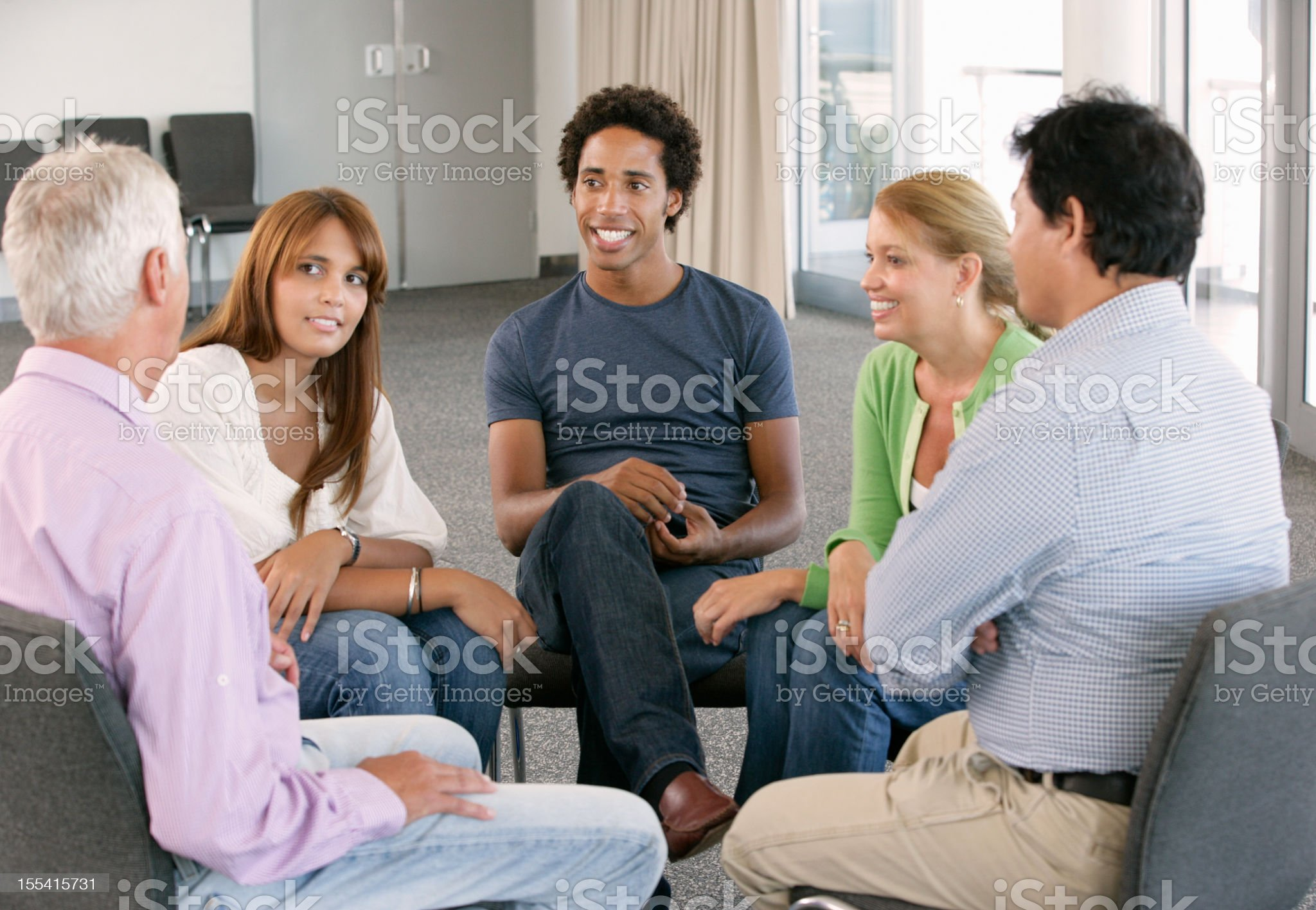 A support group gathering for a meeting royalty-free stock photo