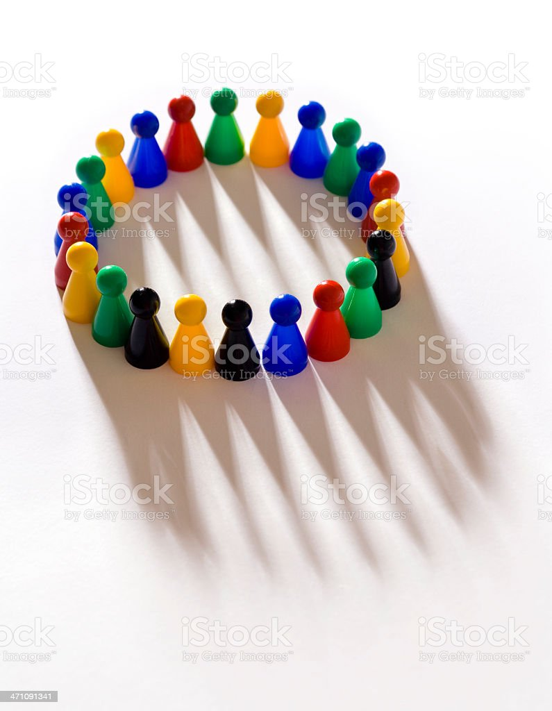 Support group with long shadow royalty-free stock photo