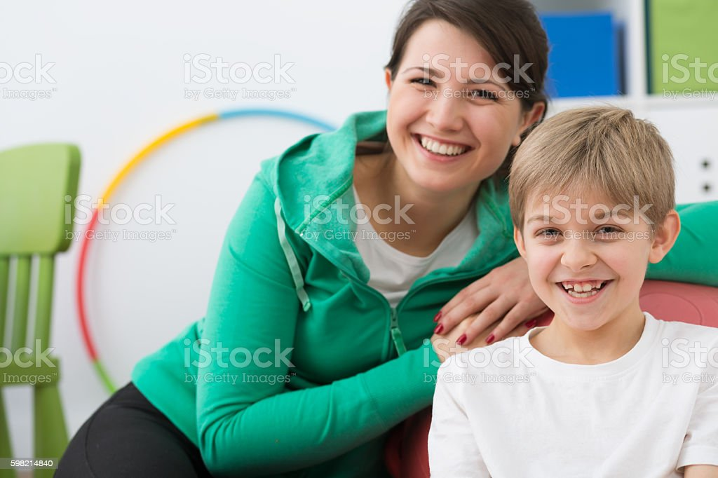 Support him in every day trainings stock photo