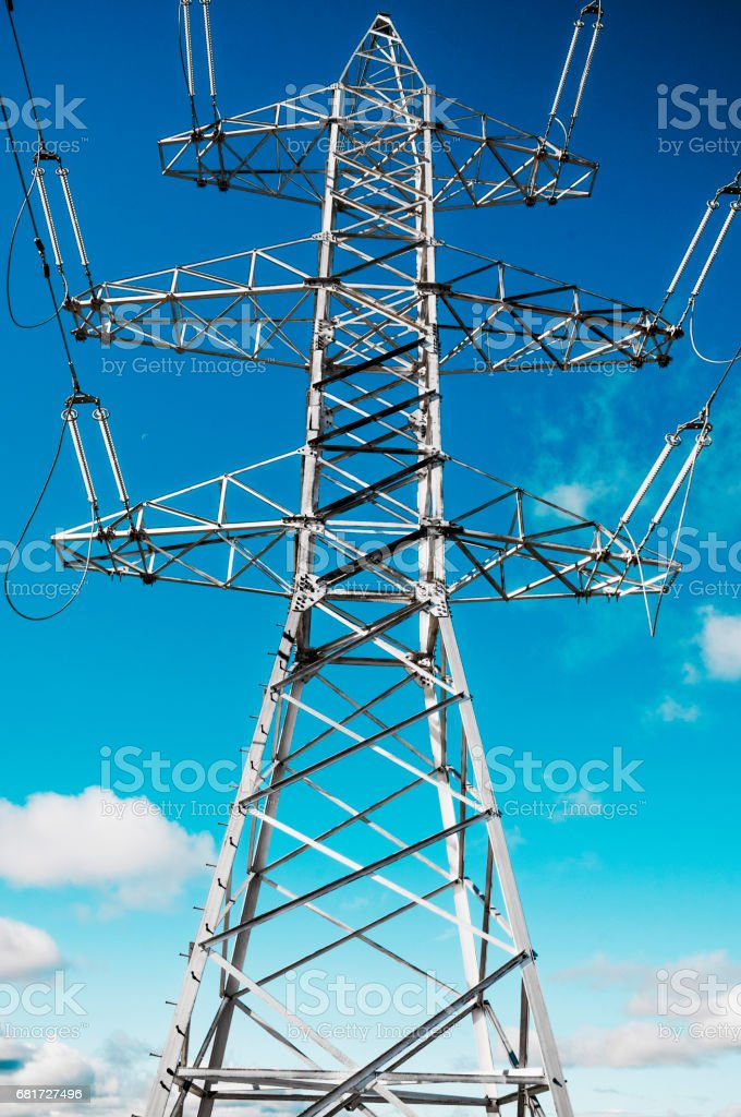 Support of high-voltage power transmission line at the stage of assembly works stock photo