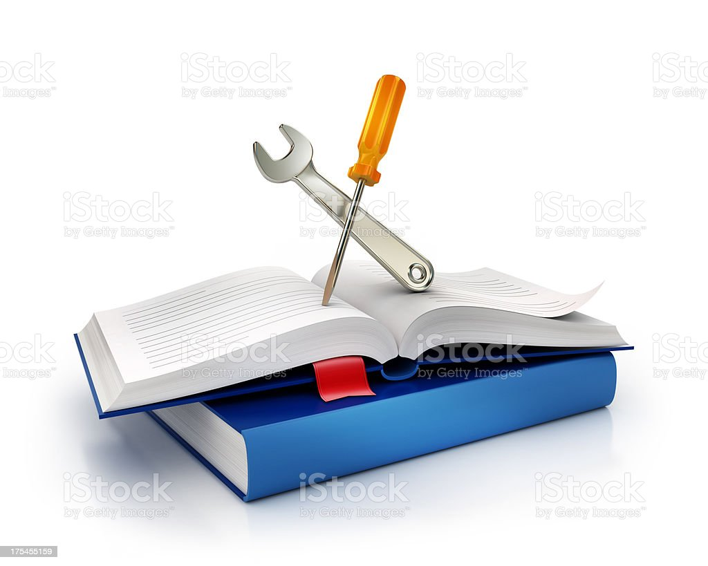 support or instruction manual icon stock photo