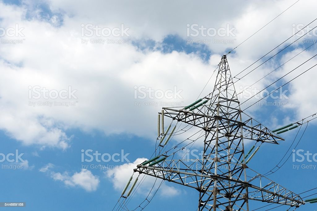 support or iron mast of electricity transmissions stock photo