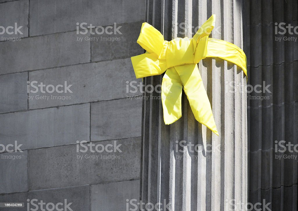 Support our troops yellow ribbon stock photo