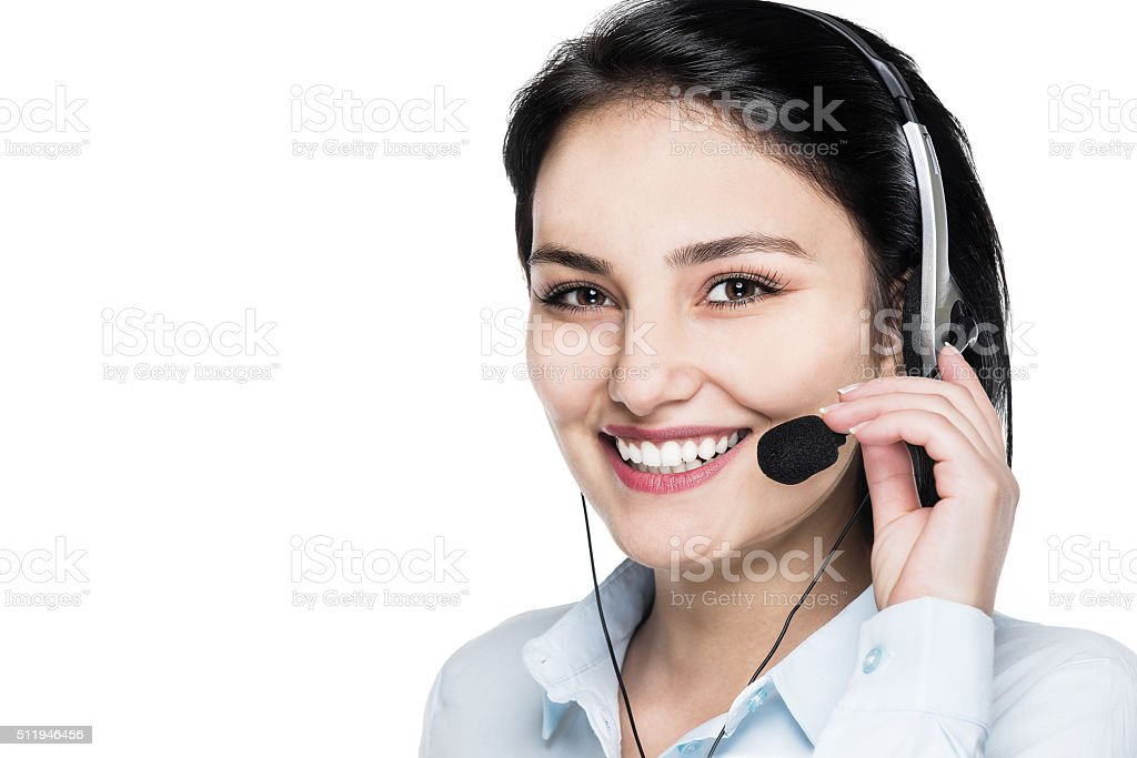 Support phone call center operator in headset stock photo