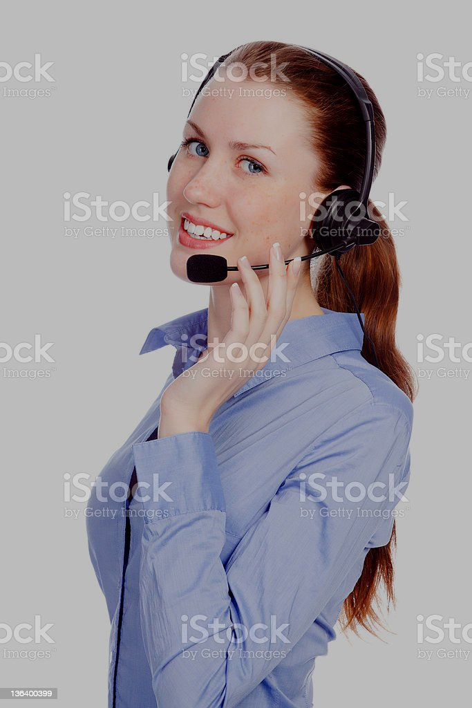 Support phone operator in headset royalty-free stock photo