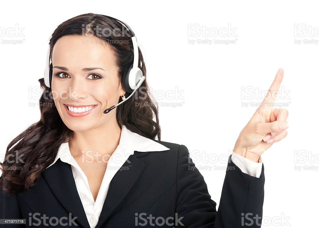 Support phone operator showing, isolated royalty-free stock photo