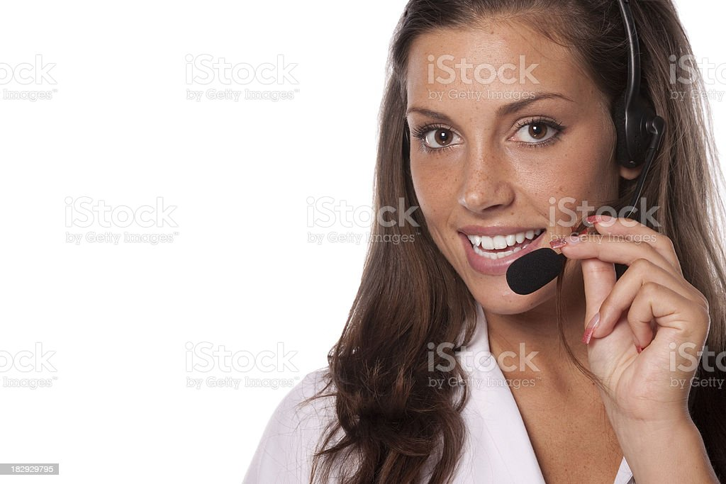 Support phone operator smiling, with copyspace royalty-free stock photo