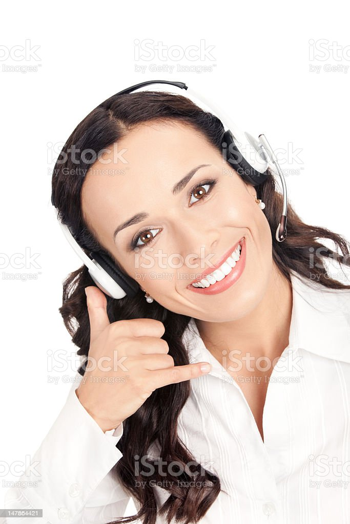 Support phone operator with call me gesture, on white royalty-free stock photo
