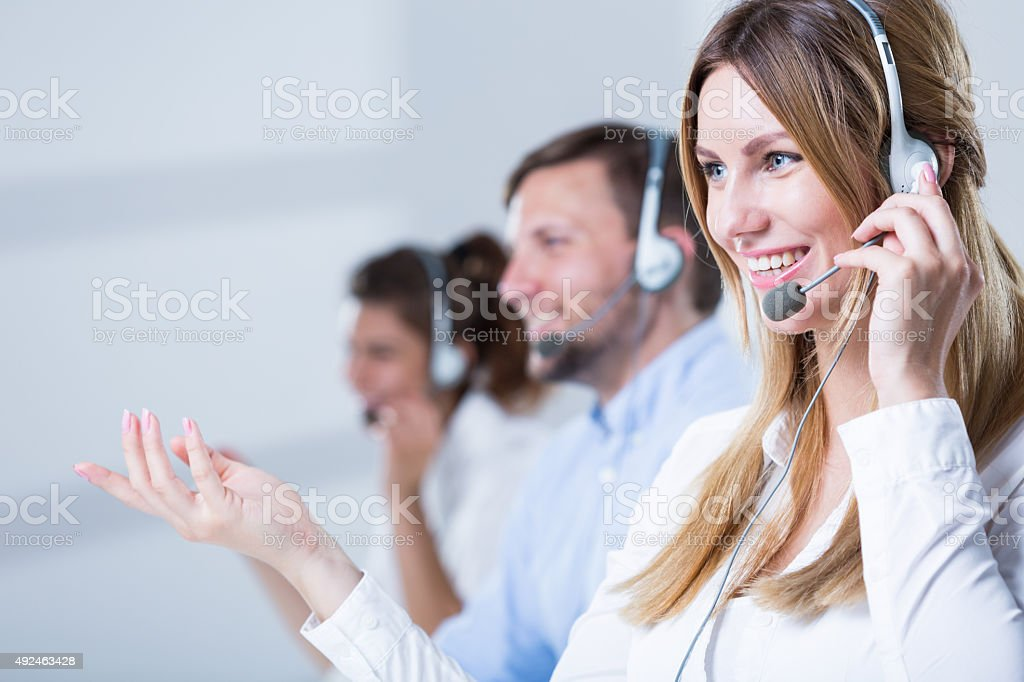 Support phone operators stock photo