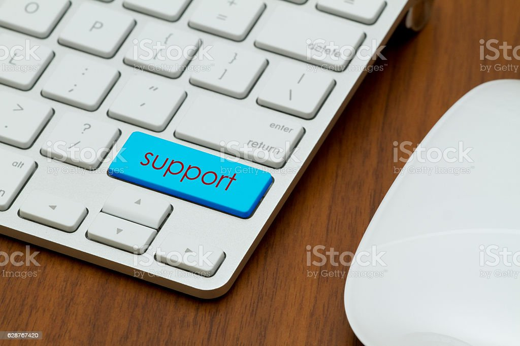 Support word written on computer keyboard. stock photo
