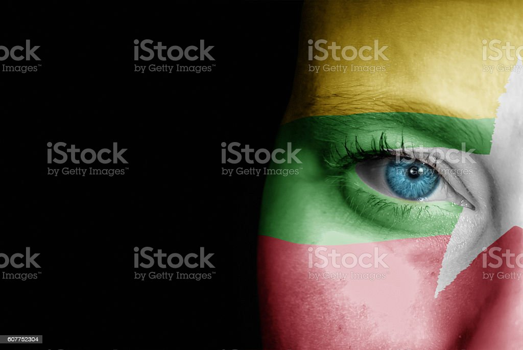 Supporter of Myanmar stock photo