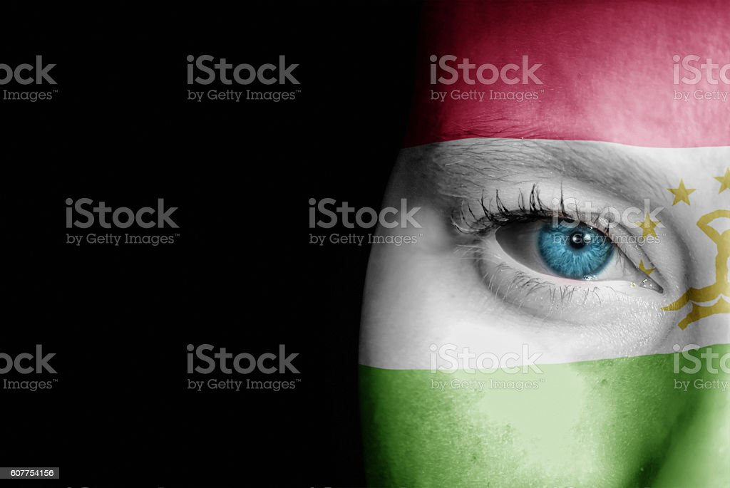 Supporter of Tajikistan stock photo