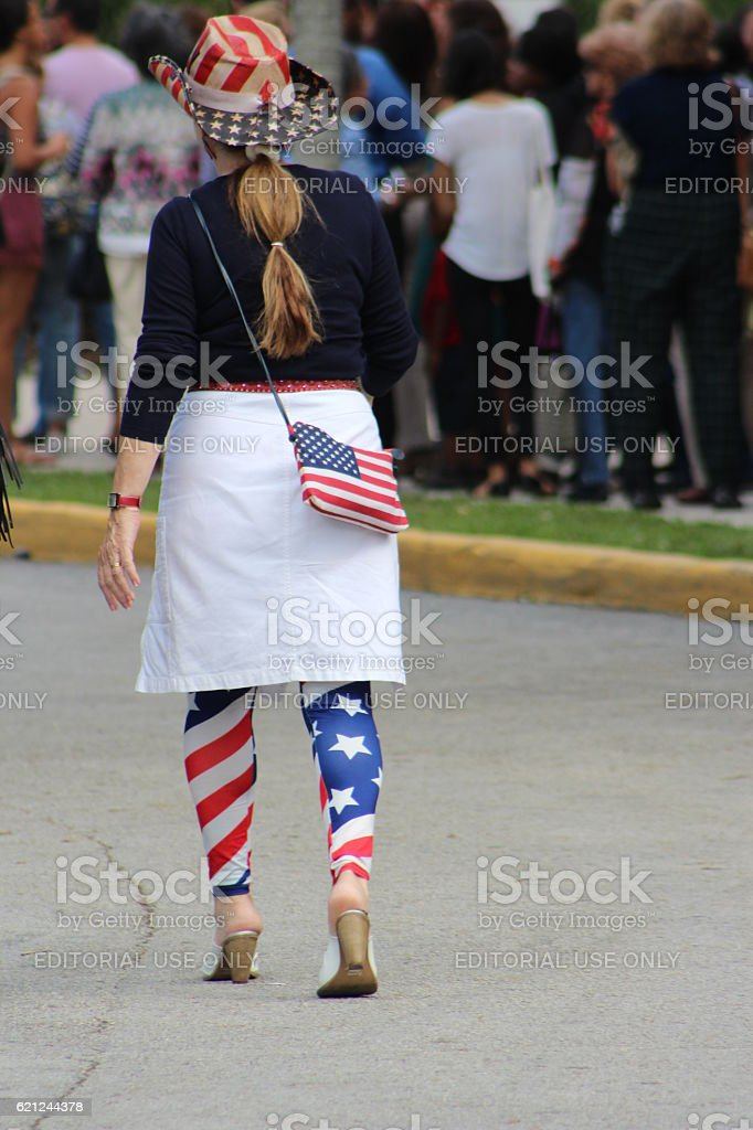 Supporters at Hillary Clinton rally stock photo