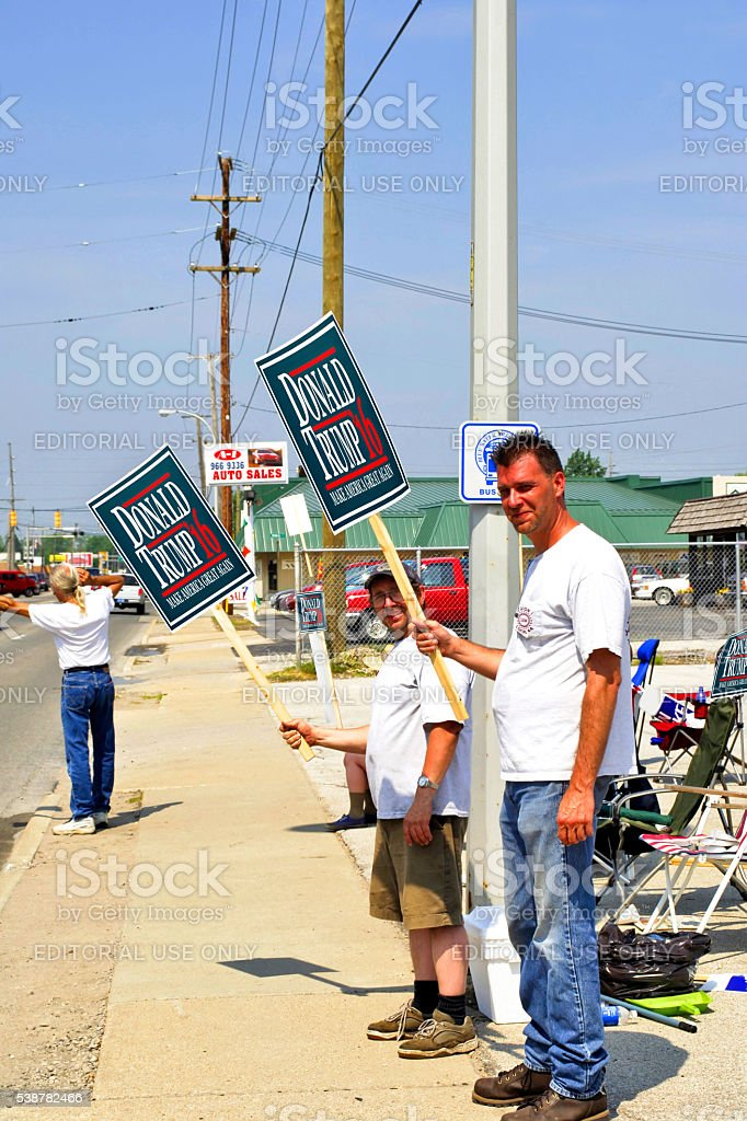 Supporters holding Donald Trump 2016 banners in Detroit Michigan stock photo