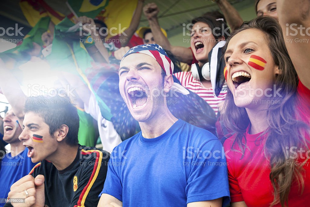 Supporters in the stadium royalty-free stock photo