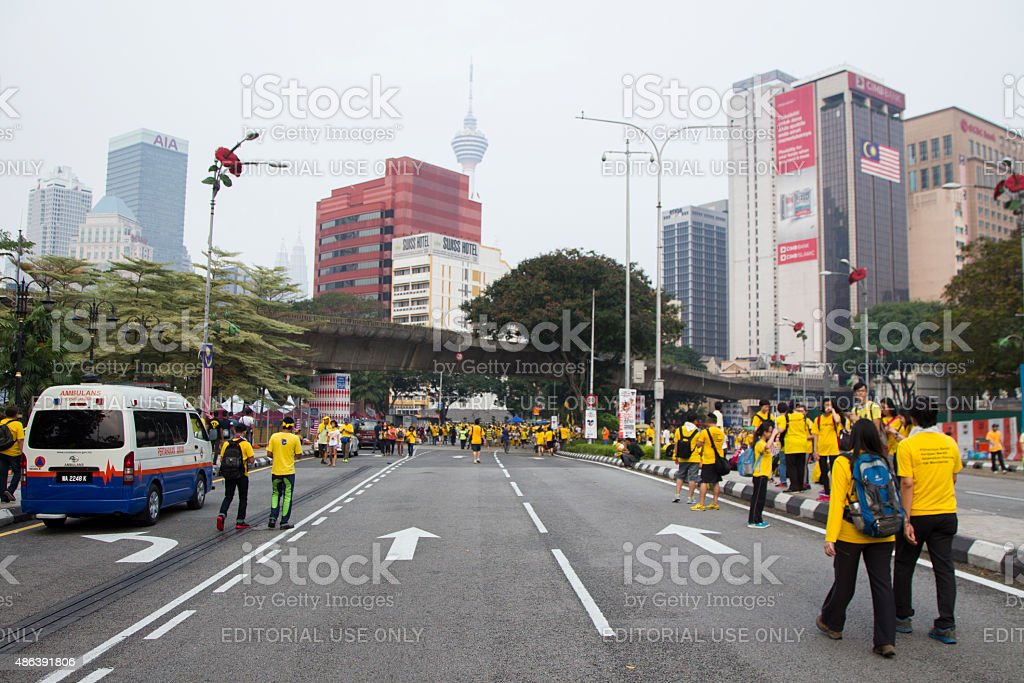 Supporters of Bersih4 Rally for Free and Fair Elections stock photo