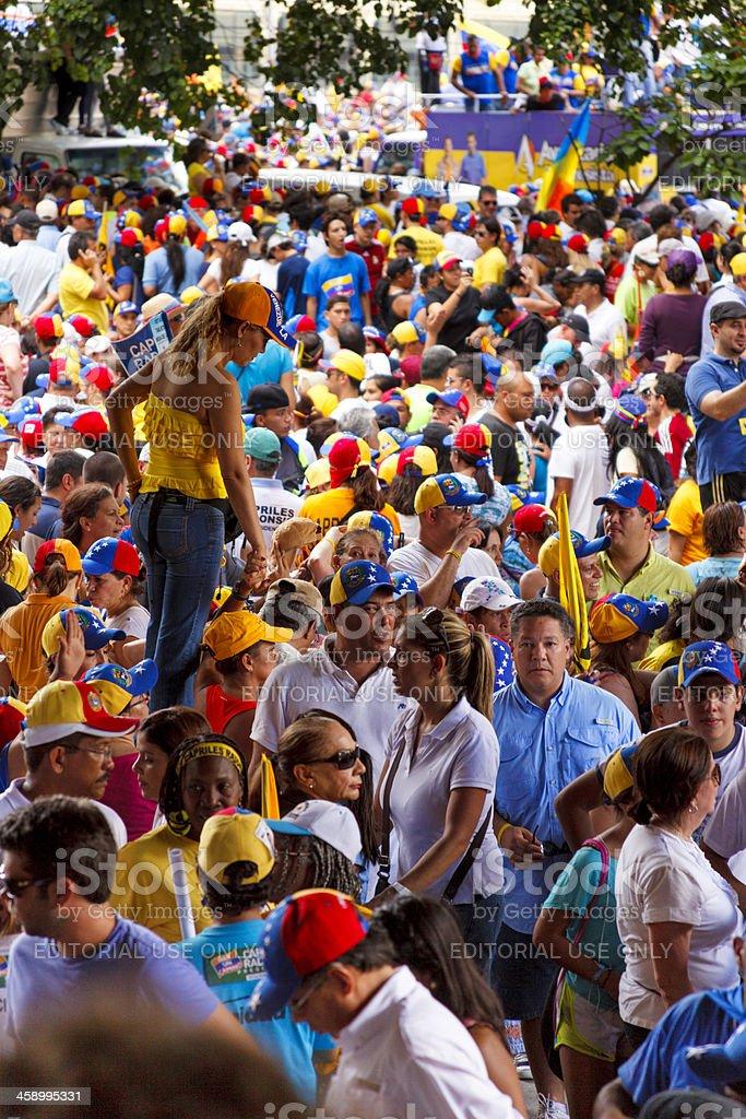 Supporters of Venezuelan Presidential candidate Enrique Capriles Radonski in parade royalty-free stock photo