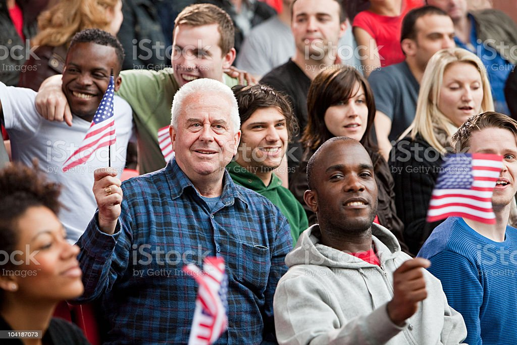 USA supporters with flags stock photo