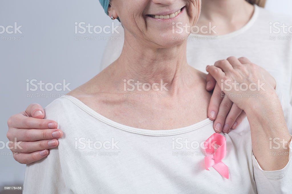 Supporting cancer awareness stock photo