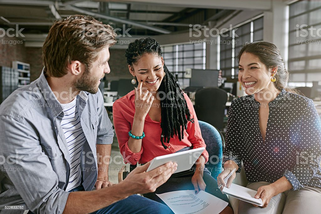 Supporting their brainstorming session with technology stock photo