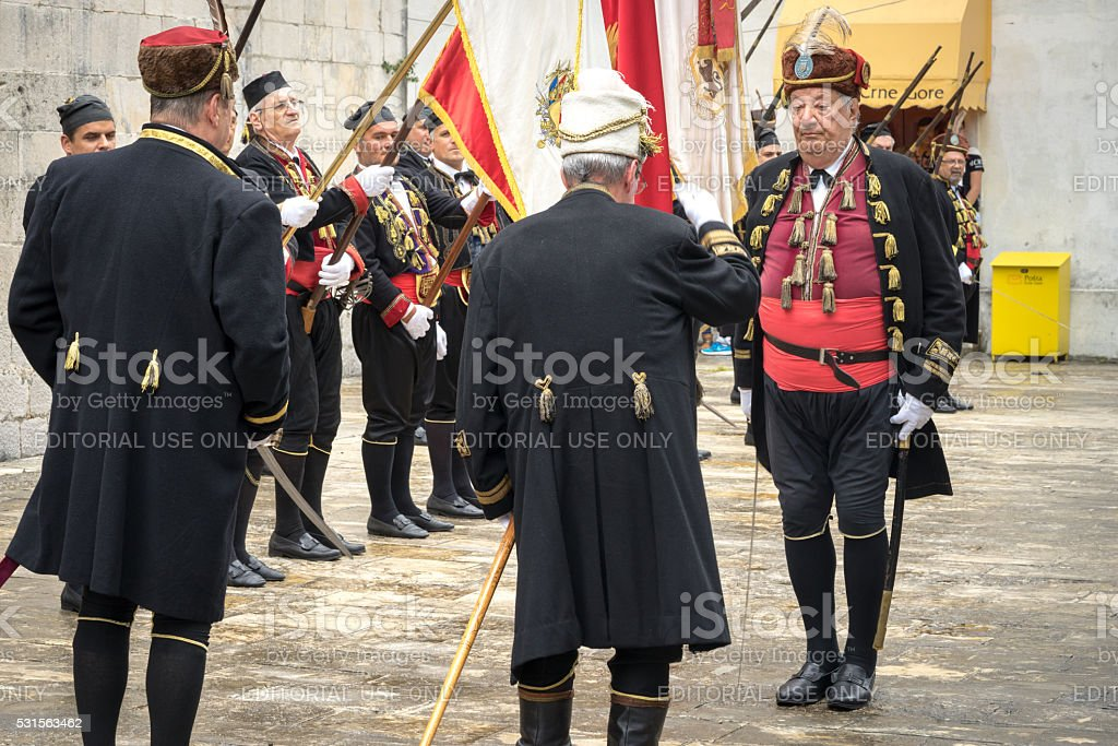 Supreme Commander takes military parade. stock photo