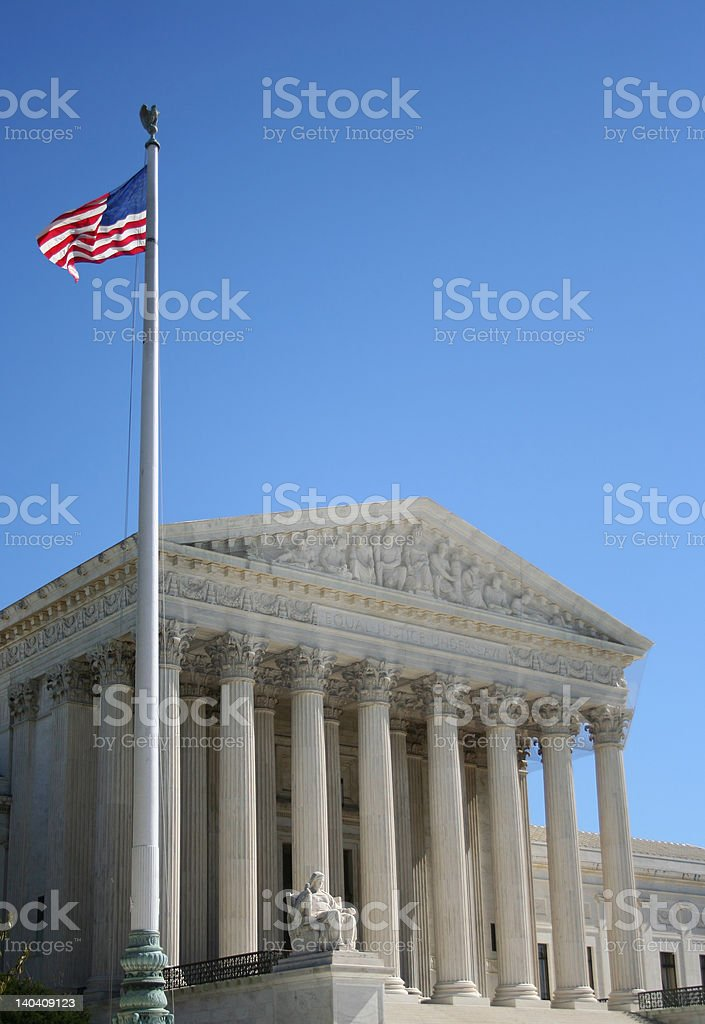 Supreme Court and American Flag royalty-free stock photo