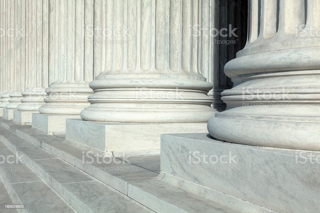 U.S. Supreme Court Archectural Detail of Steps and Columns royalty-free stock photo