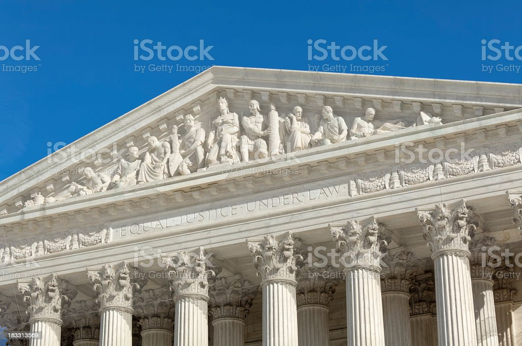 U.S. Supreme Court Architectural Detail Above the Columns royalty-free stock photo