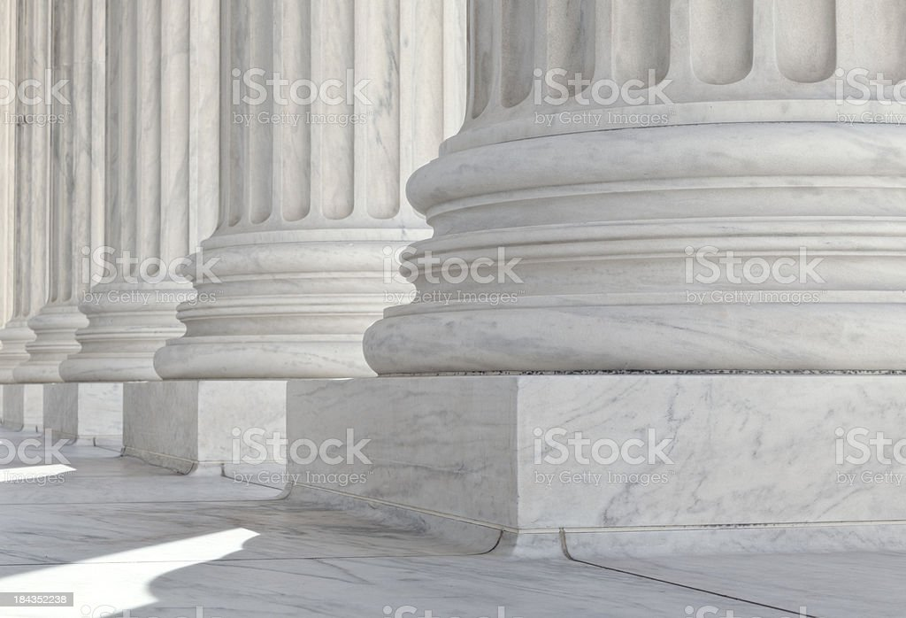 U.S. Supreme Court Architectural Detail of Base of the Columns stock photo