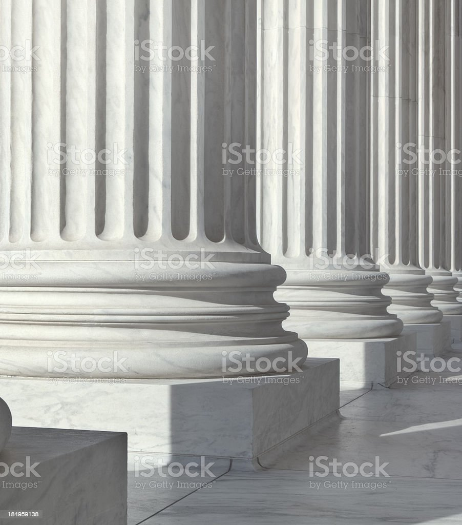 U.S. Supreme Court Architectural Detal of the Pillars royalty-free stock photo