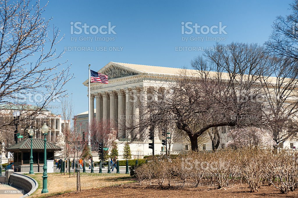 US Supreme Court building in Washington DC in spring stock photo