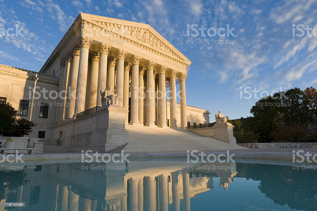 US Supreme Court building lake stock photo