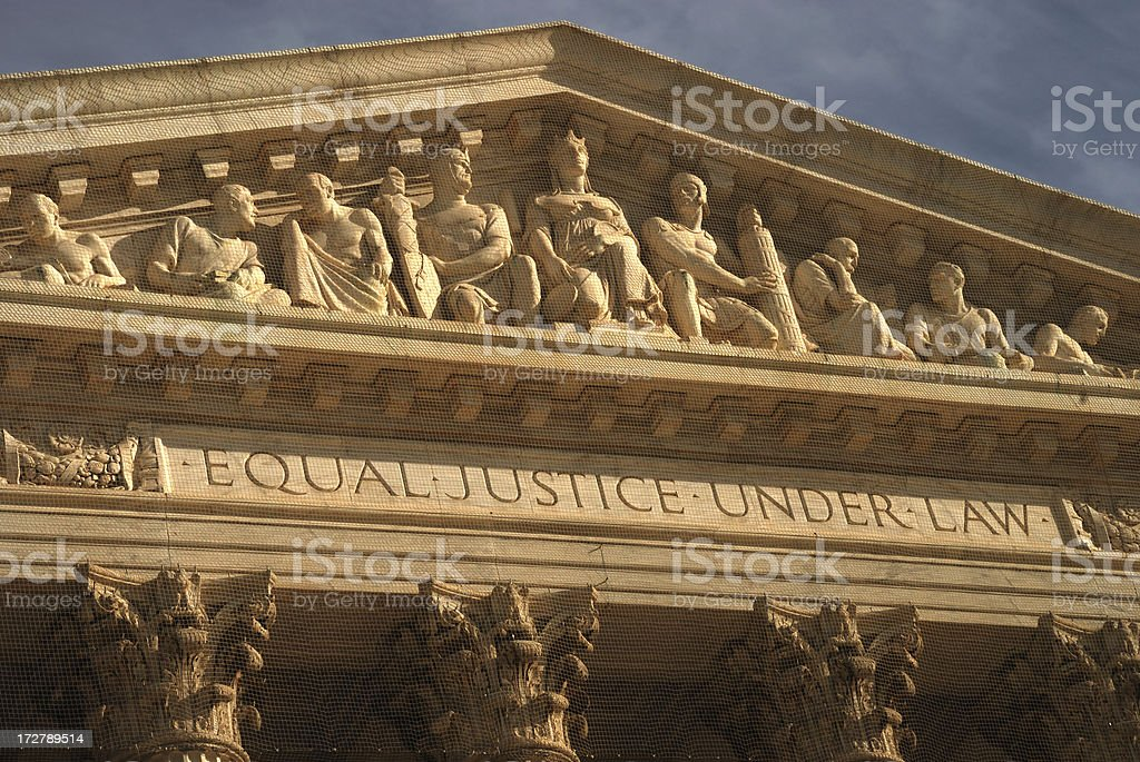 Supreme Court building motto Equal Justice Under Law royalty-free stock photo