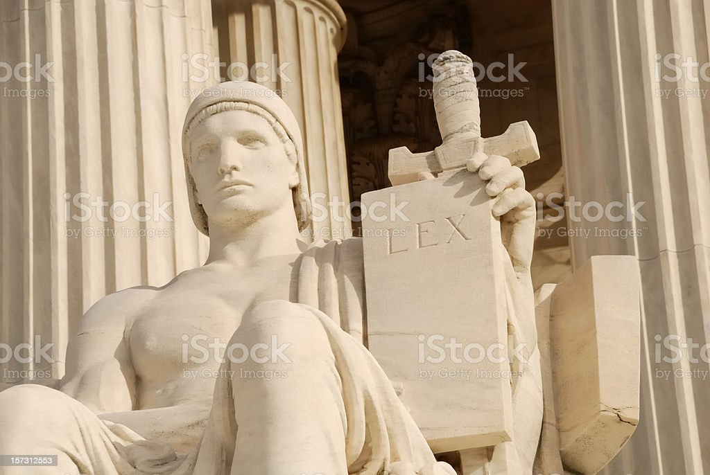Supreme Court building statue with Law tablet. royalty-free stock photo