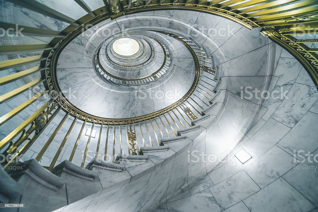 Supreme Court, Capitol Hill spiral staircase. stock photo